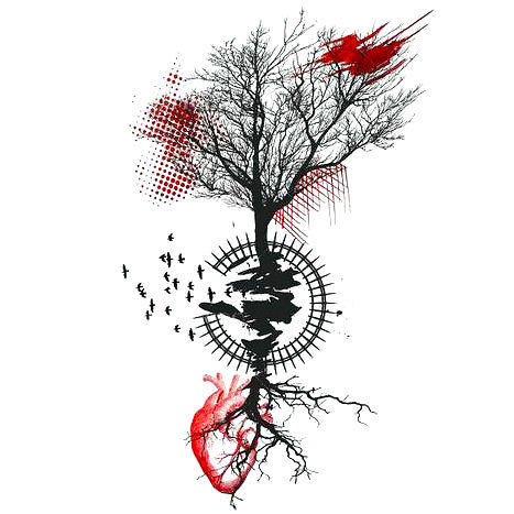 Trash Polka Tree Tattoo Design