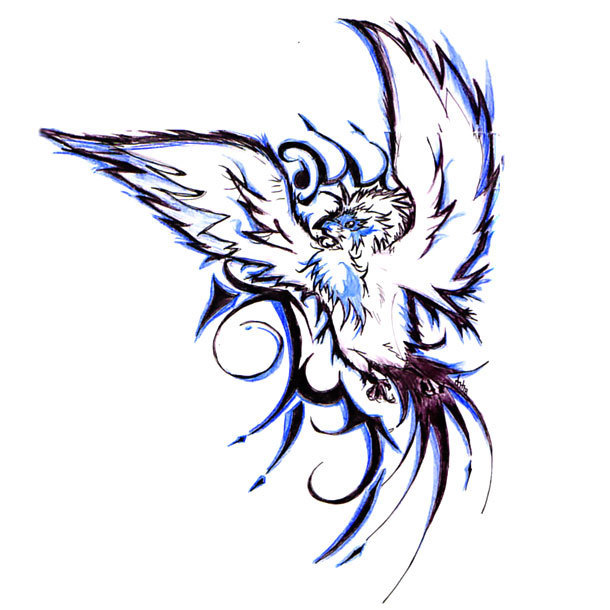 Tribal Bluebird Tattoo Design