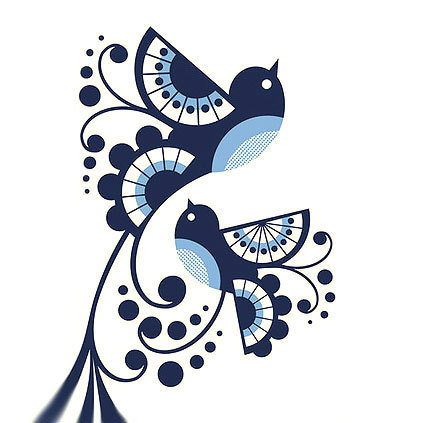 Tribal Bluebirds Tattoo Design