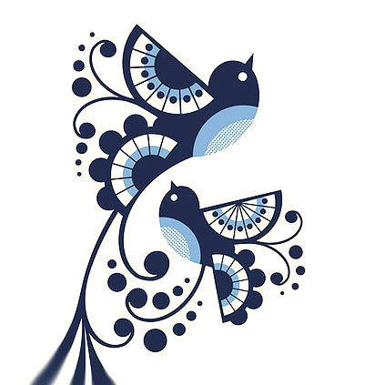Tribal Bluebirds Tattoo Design