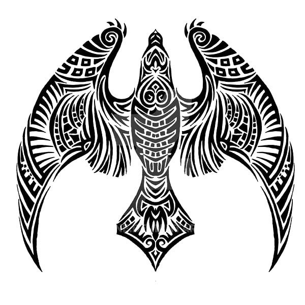 Tribal Night Hawk Tattoo Design