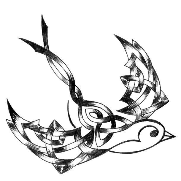 Tribal Sparrow Tattoo Design