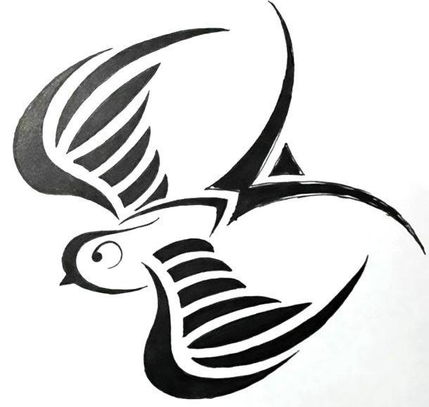 Tribal Swallow Tattoo Design