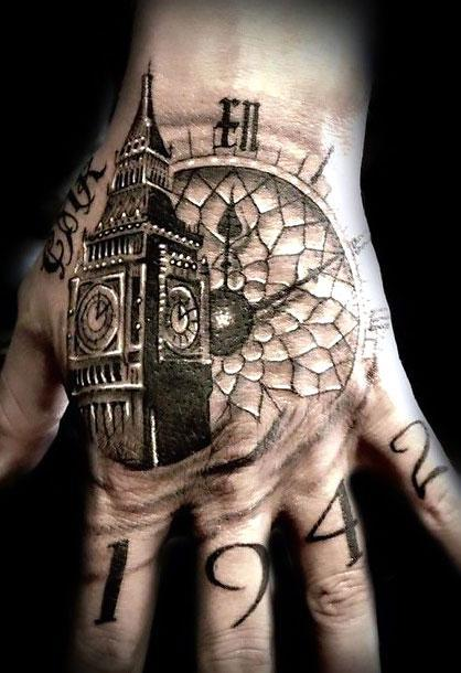 Big Ben on Hand for Men Tattoo Idea