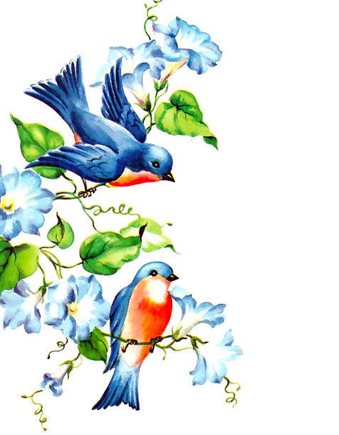 Two Bluebirds Tattoo Design