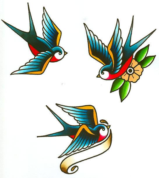 Vintage Swallows Tattoo Design