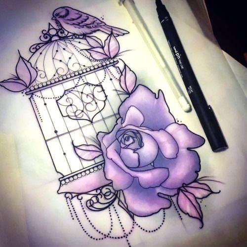 Violet Birdcage Tattoo Design