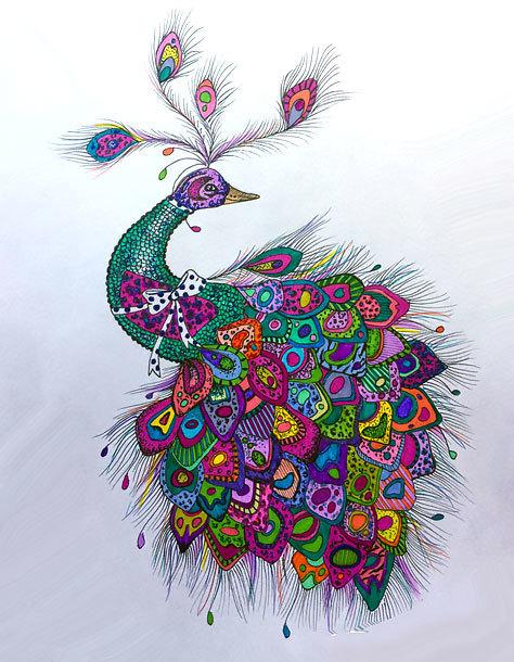 Vivid Peacock Tattoo Design