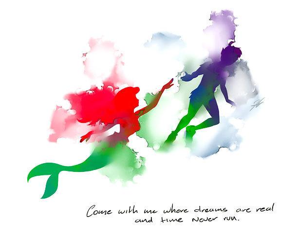 Watercolor Ariel and Peter Pen Tattoo Design