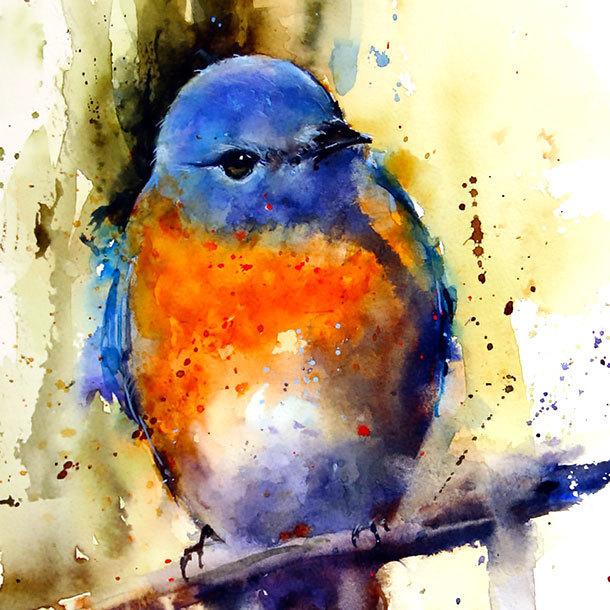 Watercolor Bluebird Tattoo Design