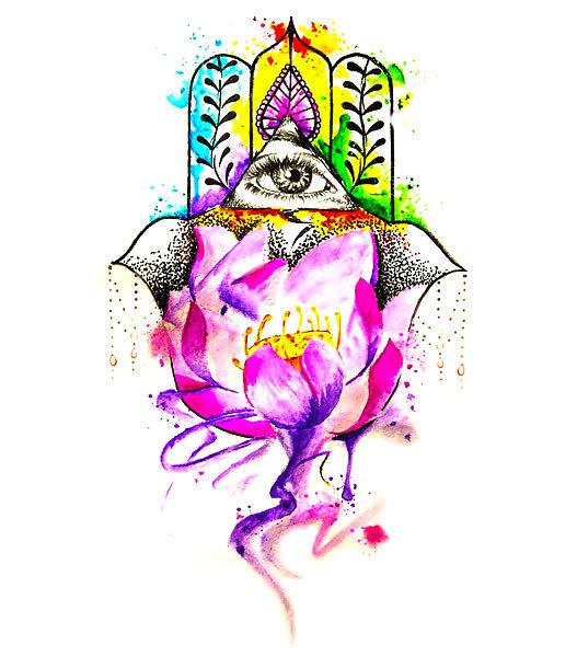 Watercolor Hamsa Tattoo Design