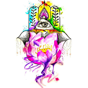 Watercolor Hamsa Tattoo