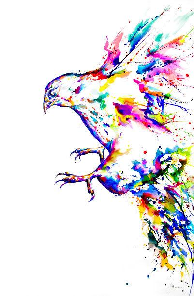 Watercolor Hawk Tattoo Design