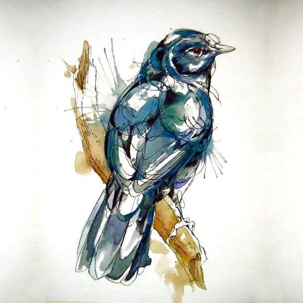 Watercolor Mockingbird Tattoo Design