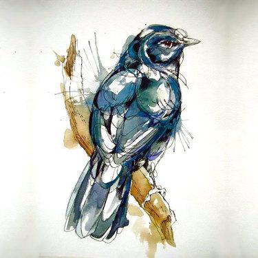 Watercolor Mockingbird Tattoo