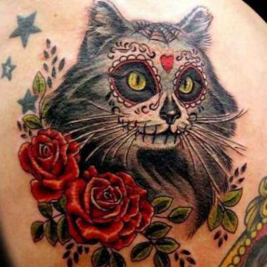 Chicano Cat with Roses Tattoo