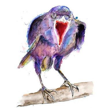 Watercolor Raven Tattoo
