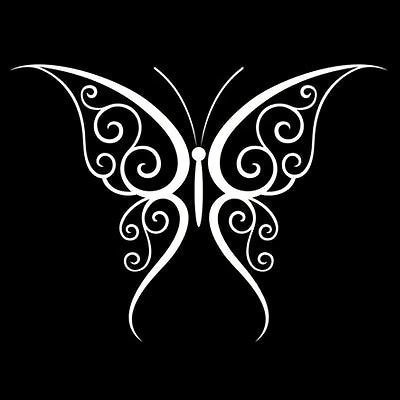 White Ink Butterfly Tattoo Design