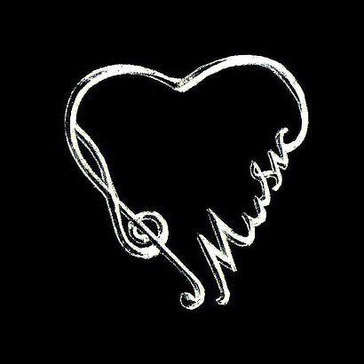 White Ink Love Music Tattoo Design