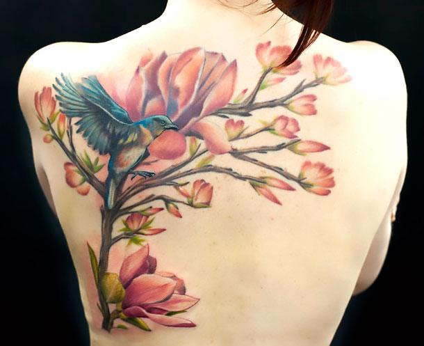 Big Bluebird on Shoulder Blade Tattoo Idea