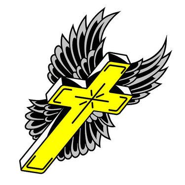 Winged Yellow Cross Tattoo