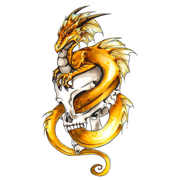 Yellow Dragon In Skull Tattoo Design