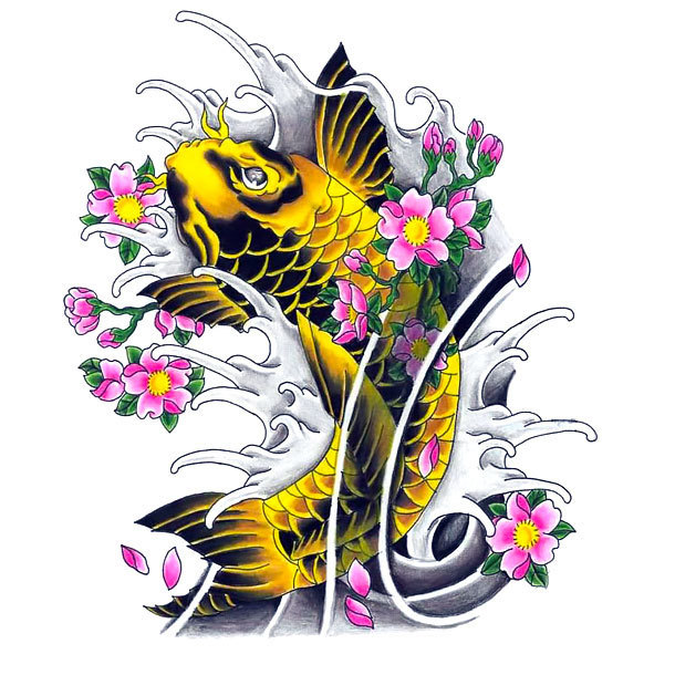 Yellow Koi Fish Tattoo Design