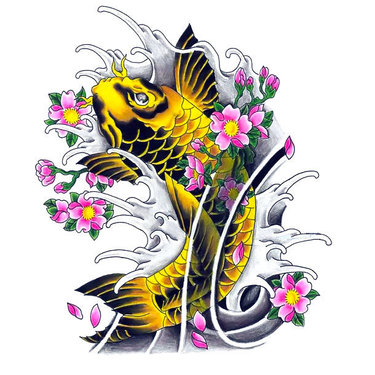 Yellow Koi Fish Tattoo