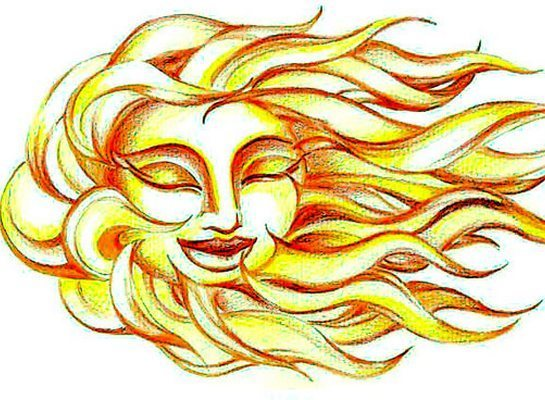 Yellow Sun Face And Hair Tattoo Design