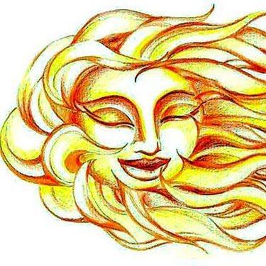 Yellow Sun Face And Hair Tattoo