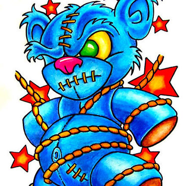 New School Teddy Bear Tattoo