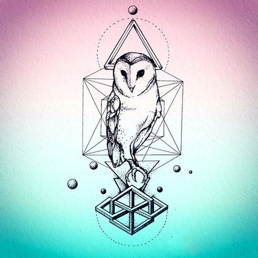 Nice Geometric Owl Tattoo