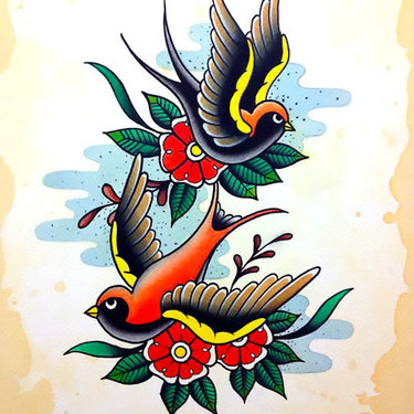 Nice Traditional Swallows Tattoo