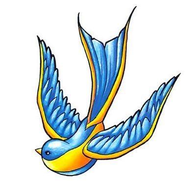 Old School Bluebird Tattoo Design