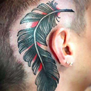 Big Feather Behind Ear Tattoo