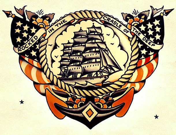 Old School Navy Tattoo Design