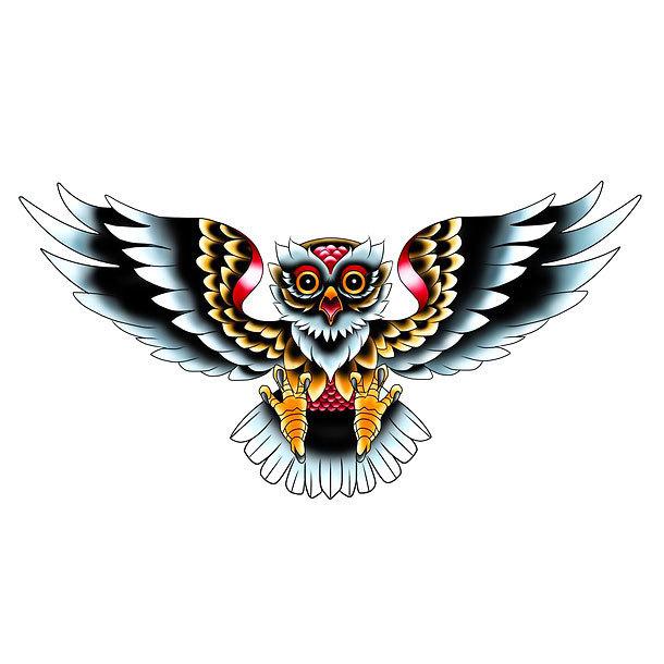 Old School Owl Tattoo Design