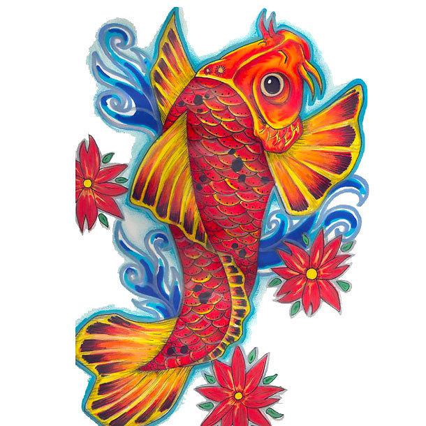 Orange Koi Fish Tattoo Design