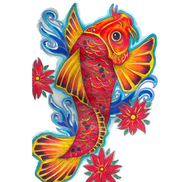 Orange Koi Fish Tattoo