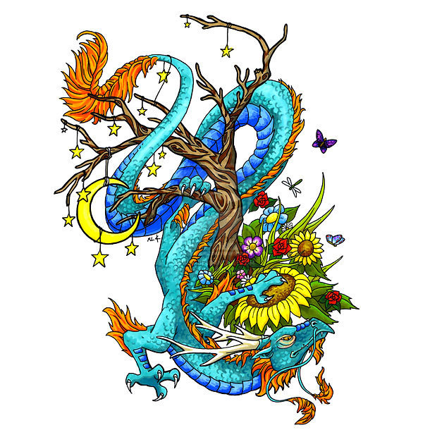 Oriental Dragon on Tree Tattoo Design