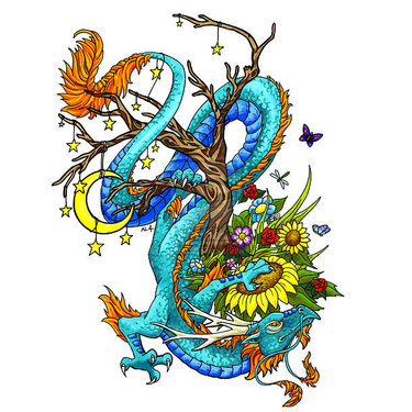 Oriental Dragon on Tree Tattoo