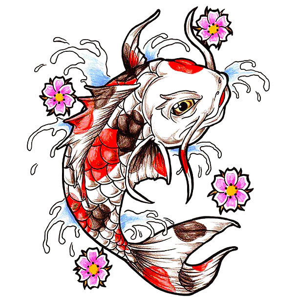 Oriental Koi Fish Tattoo Design
