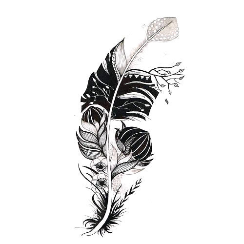 Original Feather With Flowers Tattoo Design