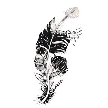 Original Feather With Flowers Tattoo