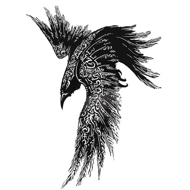 Original Tribal Raven Tattoo Design