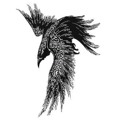 Original Tribal Raven Tattoo
