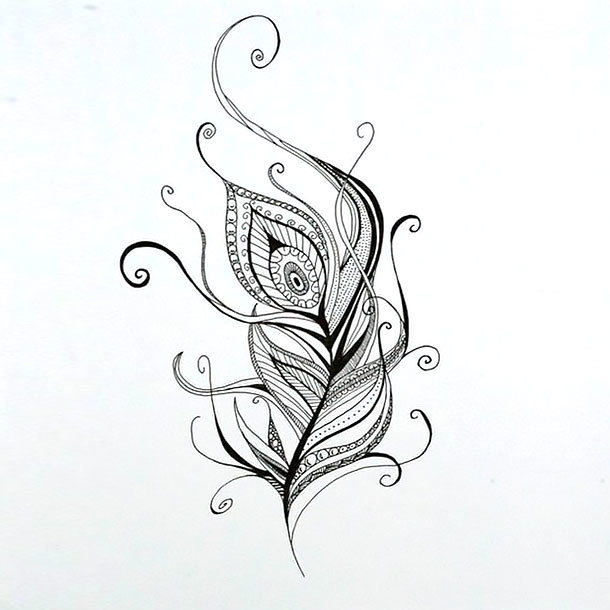 Ornament Peacock Feather Tattoo Design
