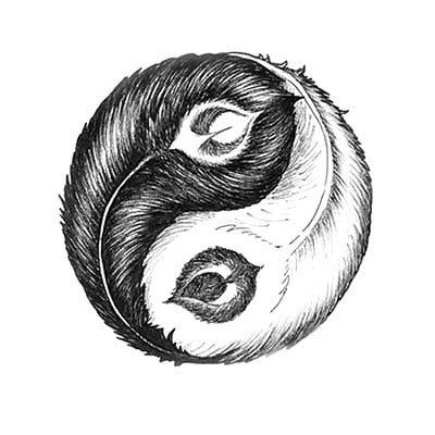 Peacock Feathers Ying Yan Tattoo Design