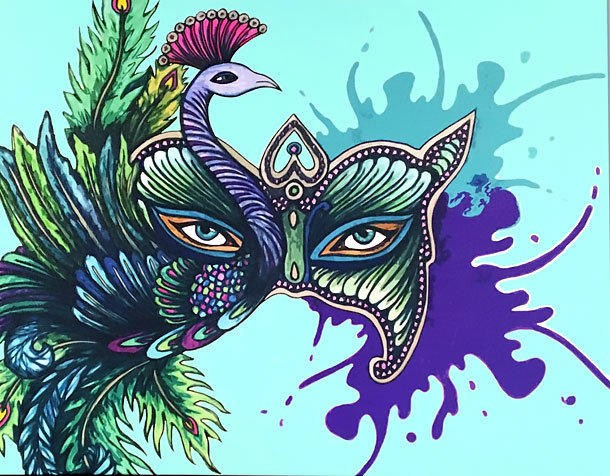 Peacock Mask Tattoo Design