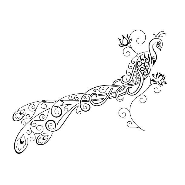 Peacock With Flowers Tattoo Design